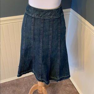 Harold's Denim Panel Modest Skirt Raw Hem Size 12
